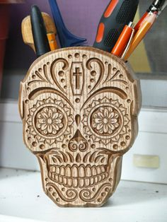 Sugar Skull Holder Wood Pen Holder Carved Skull Wooden от carpinterowood