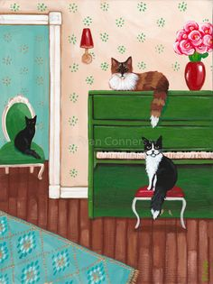 Cats in the Green Piano Room Original Cat Folk Art Painting Black Cat Painting, Oil Painting On Canvas, House Painting, Modern Art Paintings, Animal Paintings, Cat Lover Gifts, Cat Lovers, Inspirational Canvas Art, Acrylic Painting Inspiration