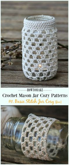 Outstanding diy hacks hacks are available on our web pages. look at th s and you will not be sorry you did. Mason Jar Cozy, Mason Jars, Mason Jar Crafts, Crochet Cozy, Crochet Gifts, Crochet Hooks, Crochet Bags, Crochet Jar Covers, Crochet Shell Stitch