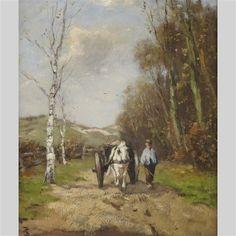 Johan Frederik Cornelis Scherrewitz, FARMER LEADING A HORSE DRAWN WAGON