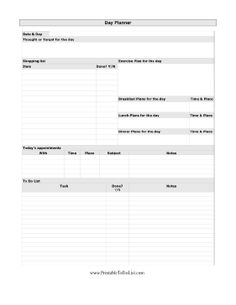 A detailed plan laying out an entire day of work, shopping, meals, exercise, and other activities. Free to download and print