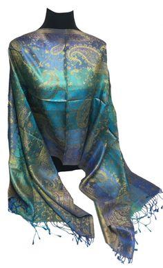 1854ddfd0ff72 Turquoise-Blue-Royal Blue-Gold-Cobalt-100% Silk-Premium Quality-Shawl-Pashmina  -Shawl- Scarf-Taditional-Paisley-Wrap-Soft-Warm-GIFT-India