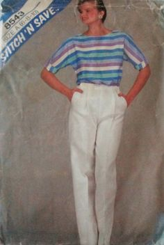 McCalls 8543 Sewing Pattern Women's 80s Top & Pants Size 6-10 Hip 32 1/2 to 34 1/2
