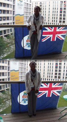 Cydonie Mothersill arrives in London.  Olympics 2012 ¤ Cayman Islands Olympian favorite