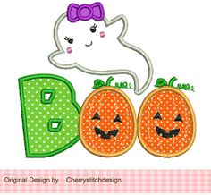 Halloween Ghost BOO 4x4 5x7 Machine by CherryStitchDesign on Etsy, $2.99