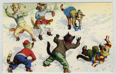 Alfred Mainzer Fantasy Dressed Cats Postcard Spain #4722 Snowball Fight