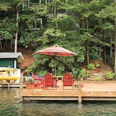 Lakeside cabin makeover: lake house cottage Spacious Dock - How one couple turned a run-down Georgia lake house, cottage, cabin into the makeover retreat of their dreams. - Southern Living