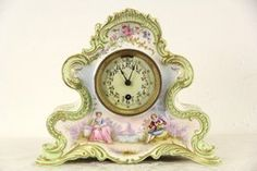 """Signed """"Boston Clock Co. this antique porcelain case clock has a very unusual movement. A single wind powers the spring. Victorian Clocks, Unusual Clocks, Mantel Clocks, Furniture Showroom, Spring Home Decor, Porcelain Jewelry, Harp, Antique Furniture, Boston"""