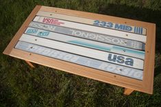 Coffee table made from old skis