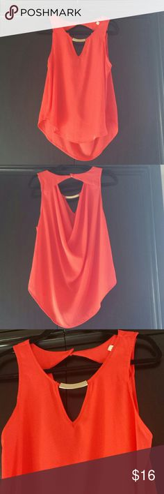 Coral Embellished Tank This top is brand new. Never worn,  beautiful shade of coral with gold embellishment at neckline.  Truly stunning.  Made by paperwhite.  Size L. Lily white Tops Tank Tops