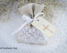 Favor Bag Burlap Gift Bags Shabby chic Country Wedding by Teomil