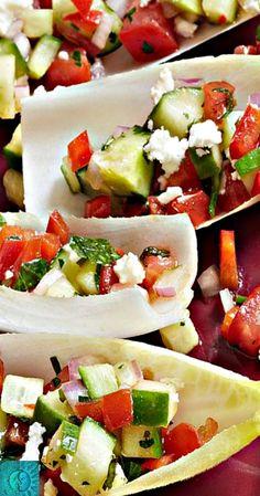 Mini Greek Salad Boats served on Endive Leaves