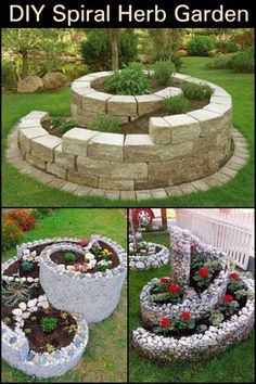 Maximize your garden space by growing a spiral herb garden. - Gardening support 2019 Maximize your garden space by growing a spiral herb garden. , space doing garden. Diy Herb Garden, Herb Garden Design, Garden Yard Ideas, Garden Types, Garden Spaces, Garden Beds, Garden Projects, Outdoor Projects, Garden Planters