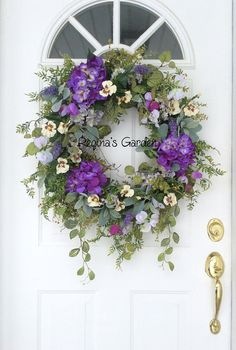 Spring Wreath-Hydrangea Wreath-Easter Wreath-Spring Wreath for Door-Designer Wreath-French Country Decor-Spring Wreaths-Wedding Wreath Greet spring with this large and lush, garden style wreath. Beautiful purple hydrangeas, pale lilac sweet peas, spring pansies, tulips and French lavender combine to create a natural-looking design that really captures the fresh beauty of spring. A lovely mix of foliages, including garden ferns, wisteria, pepper berry, seeded eucalyptus and fuzzy gray lambs…