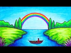 How to Draw Easy Scenery Oil Pastel Drawings Easy, Oil Pastel Paintings, Oil Pastel Art, Cool Art Drawings, Oil Pastels, Scenery Drawing For Kids, Easy Drawings For Kids, Rainbow Drawing, Rainbow Painting