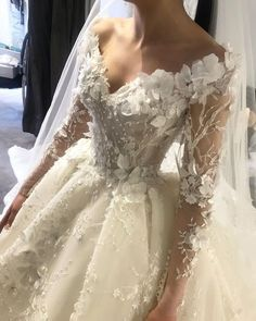85 Stunning wedding dresses with amazing details, floral applique lace wedding dress,long sleeves wedding dress,deep plunging neckline wedding dress,heavy embellishment wedding dress Western Wedding Dresses, Stunning Wedding Dresses, Custom Wedding Dress, Long Wedding Dresses, Wedding Dress Styles, Bridal Dresses, Beautiful Dresses, Wedding Gowns, Lace Wedding