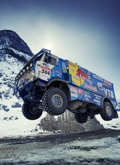 Wait for it. Kamaz VK truck in the Dakar Rally. 4x4 Trucks, Cool Trucks, Cool Cars, Rallye Automobile, Rallye Paris Dakar, Rallye Raid, Hors Route, Offroader, Off Road Racing