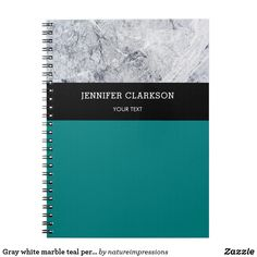 69c1ed76029f6 Gray white marble teal personalized school notebook