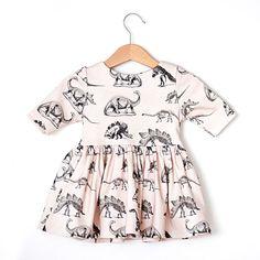 Dinosaur on Cream Organic Cotton Baby Dress by RockyRacoonApparel