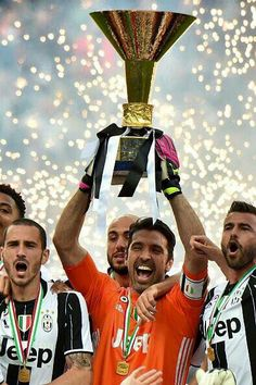 9f533b99485 Juventus  goalkeeper Gianluigi Buffon (C) from Italy and Juventus  players  celebrate their Serie A title after the Italian Serie A football match  Juventus ...
