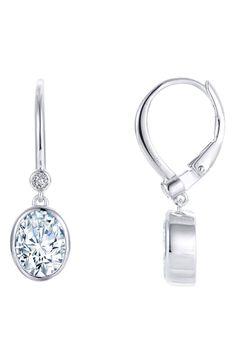 da0857505 LAFONN Oval Cut Simulated Diamond Drop Earrings, $170. Bezel Setting, Lever  Backs in