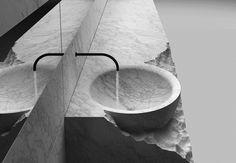 Объединенный с полочкой мраморный умывальник из коллекции сантехники Corpo