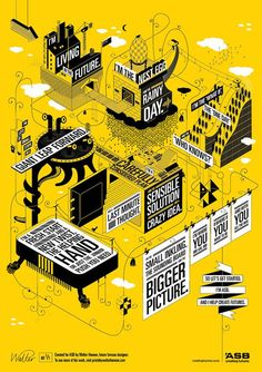 poster #3d #isometric #exploded #yellow
