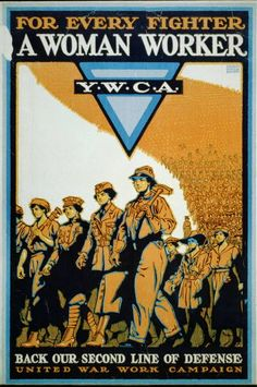 Poster showing a parade of women workers wearing uniforms appropriate for specific jobs.    Baker, Ernest Hamlin, 1889-1975, artist  [1918]