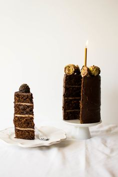 Dark Chocolate Ganache and Marzipan Birthday Cake | butter and brioche