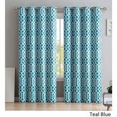 HLC.ME Trellis Print Blackout Grommet Curtain Panel Pair