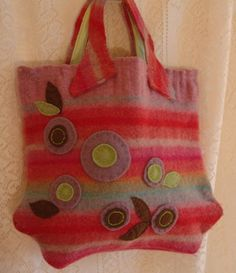 Purse from felted wool sweater