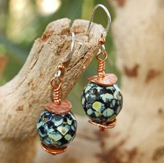 Czech Glass Copper Shabby Chic Handmade Earrings Beaded OOAK | ShadowDogDesigns - Jewelry on ArtFire