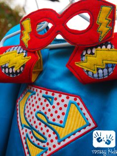 Thwack Personalized Superhero Reversible Cape, Cuffs and Mask by messykidsdesigns, $40.00