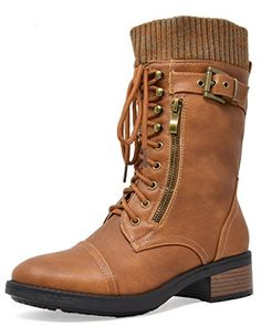 53a8013ce1ee36 DREAM PAIRS Womens Amazon Camel Mid Calf Combat Riding Boots Size 8 M US >>