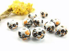 Black Ceramic Beads 12mm Handmade Ceramic Floral Beads by Cchange