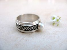 Silver ring pearl ring pearl wedding ring flower by ArtIsApassion, $120.00