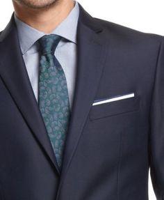 Ryan Seacrest Distinction New Blue Solid Slim-Fit Suit Separates