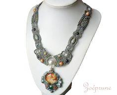 Art Nouveau micro-macramé necklace.