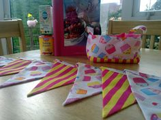 Cupcake and Candy Stripe Fabric Bunting with matching Fabric Basket by MollyFelicityDesigns, £15.00