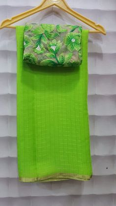 Pure Georgette zari checks saree with designer blouses   Buy Online georgette Sarees   Elegant Fashion Wear