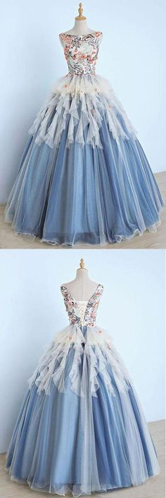 Unique Long Applique Ball Gown Prom Dress,Quinceanera Dresses,Sweet 16 Dress #ballgown #sweet16 #Quinceanera #bigdress #okdresses #blue