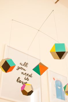 Modern, Geometric Nursery Mobile - love the pop of color!
