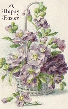 violets, loose flowers in white wicker basket, one flower and one bud on table - loving birthday gretings Birthday Postcards, Vintage Birthday Cards, Vintage Greeting Cards, Vintage Ephemera, Vintage Paper, Vintage Postcards, Vintage Images, Arte Floral, Flower Pictures