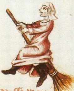 Flight of the Witches 'Vaudoises' miniature in a manuscript by Martin Le France (1410-1461), Le Champion des Dames, 1451. rw