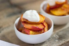 Baked Cinnamon Peaches Topped With Yogurt -- Good & Good for You!