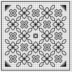 blackwork - Page 2 Motifs Blackwork, Blackwork Cross Stitch, Blackwork Embroidery, Cross Stitching, Cross Stitch Embroidery, Embroidery Patterns, Embroidery Thread, Embroidery Tattoo, Mexican Embroidery