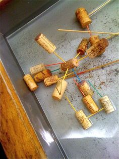 Pickup sticks, corks & water...great game & activity for balance & floatation.