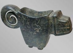 Dark Green Feline Mortar (1100 BCE - 300 BCE) | Chorrera-Valdivia Culture - Ecuador - The Curator's Eye