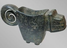 Dark Green Feline Mortar (1100 BC - 300 BC) | Chorrera-Valdivia Culture - Ecuador - The Curator's Eye
