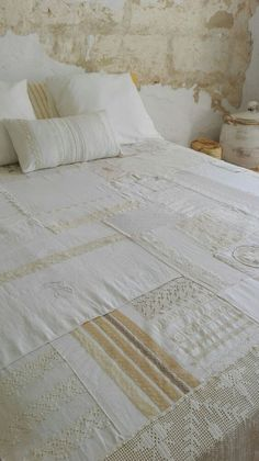 Vintage Quilts, Vintage Fabrics, Vintage Sewing, Vintage Linen, Shabby Chic Quilts, Upcycled Vintage, Wedding Dress Quilt, Neutral Quilt, Quilt As You Go